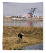 A Moose Walks On The On Reclaimed Land Fleece Blanket