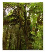 A Moss Covered Tree  In The Ho National Rain Forest Fleece Blanket