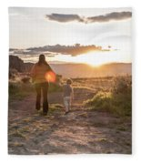 A Mother And Child Hike At Sunset Fleece Blanket