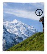 A Mountain Biker Is Carrying His Bike Fleece Blanket