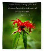 A Mountain Flower  John 3 16 Fleece Blanket