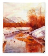 A Mountain Torrent In A Winter Landscape Fleece Blanket