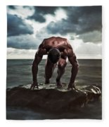 A Muscular Man In The Starting Position Fleece Blanket