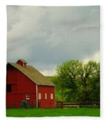 A Neat Red Barn Near Sheridan Wyoming Fleece Blanket