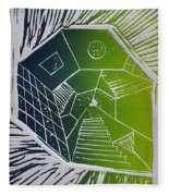 A New Dimension Blue And Green Linocut Fleece Blanket
