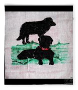 A Newfoundland Dog And A Labrador Retriever Fleece Blanket