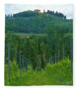 A Painting A Tuscan Vineyard And Villa Fleece Blanket