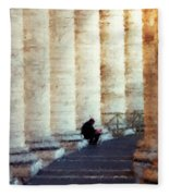 A Painting Alone Among The Vatican Columns Fleece Blanket