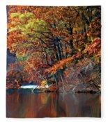 A Painting Barney's Autumn Pond Fleece Blanket