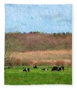 A Painting Cows Grazing And Newport Bridge Fleece Blanket
