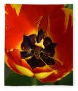 A Painting Red Tulip Fleece Blanket