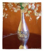 A Painting Silver Vase On Table Fleece Blanket