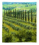 A Painting Tuscan Panoramic 4 Fleece Blanket