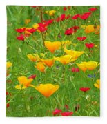 A Painting Tuscan Poppies Fleece Blanket