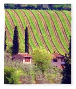 A Painting Tuscan Vineyard Fleece Blanket