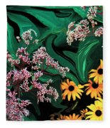 A Painting Wild Flowers Dali-style Fleece Blanket