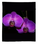 A Pair Of Purple Orchids From Bermuda Fleece Blanket