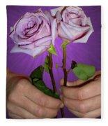 A Pair Of Purple Roses Fleece Blanket