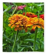 A Pair Of Yellow Zinnias 03 Fleece Blanket
