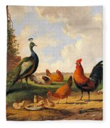 A Peacock And Chickens In A Landscape  Fleece Blanket