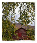 A Peak Of Fall Red Barn Fleece Blanket