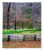 A Place Of Peace Among The Daffodils Fleece Blanket