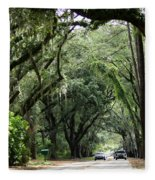 A Pretty Tree Covered Road Somewhere On Hilton Head Island Fleece Blanket