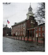 A Rainy Day At Independence Hall Fleece Blanket