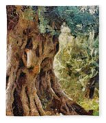 A Really Old Olive Tree Fleece Blanket