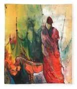 A Red Dog In Morocco Fleece Blanket