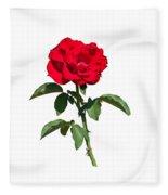 A Red Rose On White Fleece Blanket
