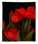 A Red Tulip Day Fleece Blanket