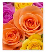 A Riot Of Roses Fleece Blanket