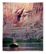 A River Guide Rowing A Wooden Dory Fleece Blanket
