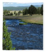 A River Runs Through Yellowstone Fleece Blanket