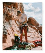A Rock Climber Setting Up To Climb Fleece Blanket