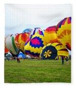 A Row Of Hot Air Balloons Left Side Fleece Blanket