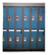 A Row Of Lockers In A School Hallway Fleece Blanket