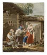 A Russian Peasant Family, 1823 Fleece Blanket