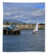A Sailing Yacht Passes The Wharf In Sidney Harbour Fleece Blanket