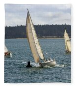 A Sailing Yacht Rounds A Buoy In A Close Sailing Race Fleece Blanket