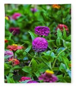 A Sea Of Zinnias 14 Fleece Blanket