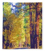 A Shady Drive Through Yosemite Fleece Blanket