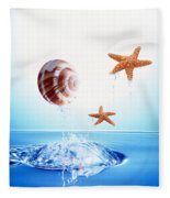 A Shell And Two Starfish Floating Fleece Blanket