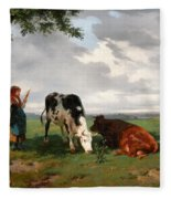 A Shepherdess With A Goat And Two Cows In A Meadow Fleece Blanket
