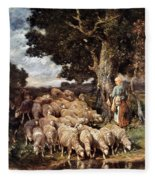 A Shepherdess With Her Flock Near A Stream Fleece Blanket