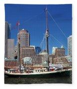 A Ship In Boston Harbor Fleece Blanket