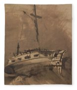 A Ship In Choppy Seas Fleece Blanket