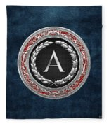 A - Silver Vintage Monogram On Blue Leather Fleece Blanket