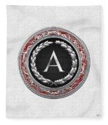 A - Silver Vintage Monogram On White Leather Fleece Blanket